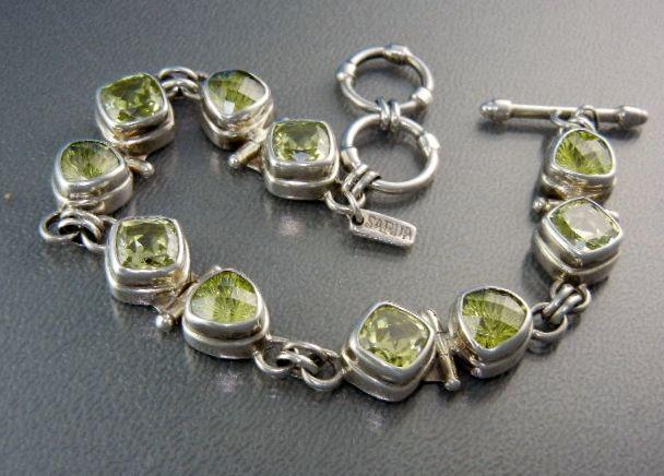 Sterling Silver Peridot Toggle Clasp Bracelet