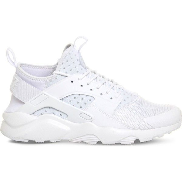 NIKE Air huarache run ultra mesh trainers ($125) ❤ liked on Polyvore featuring men's fashion, men's shoes, men's sneakers, white mono, nike mens sneakers, nike mens shoes, mens white sneakers, mens white shoes and mens lace up shoes