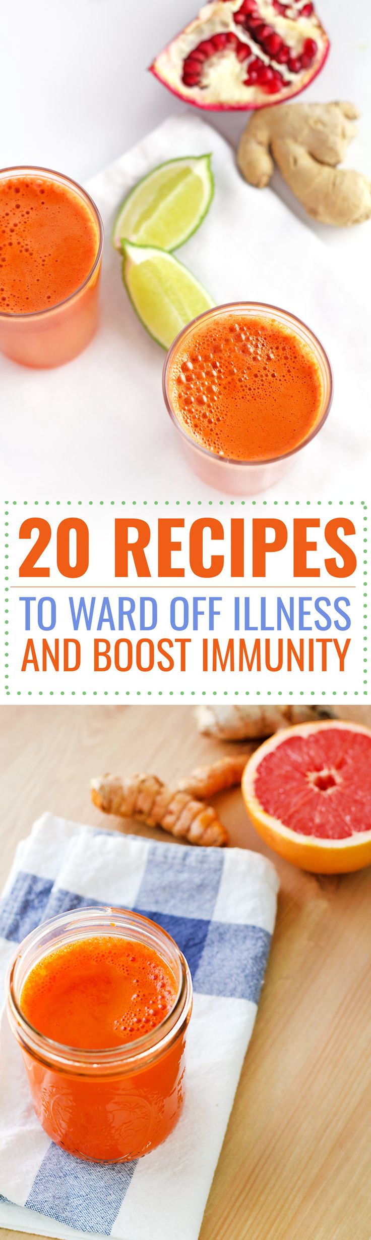 20 recipes to ward off illness and boost immunity!! Including chicken soups, vegetarian soups, and a variety of juices and tonics to boost immunity!