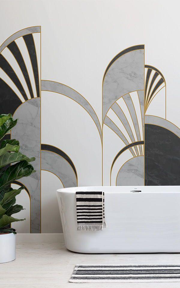 Black White Gold Art Deco Wallpaper Mural Murals Wallpaper In 2021 Art Deco Living Room Art Deco Wallpaper Art Deco Bedroom
