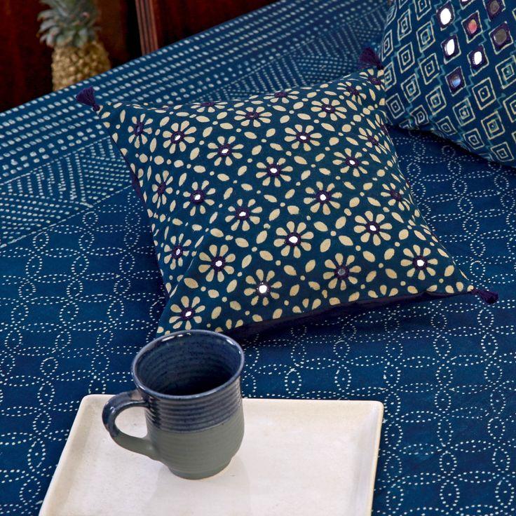 #cushioncover #cushion #indigo #mirrorwork #ajrakh #blockprint #home #bedlinen #ceramic #mug #tray #tableware #bedcover #lifestyle #Fabindia