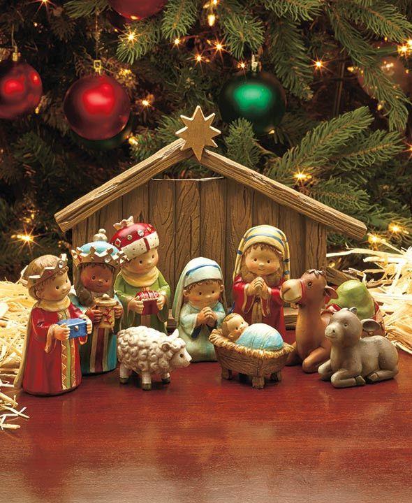 Adorable Complete Ceramic Nativity Set