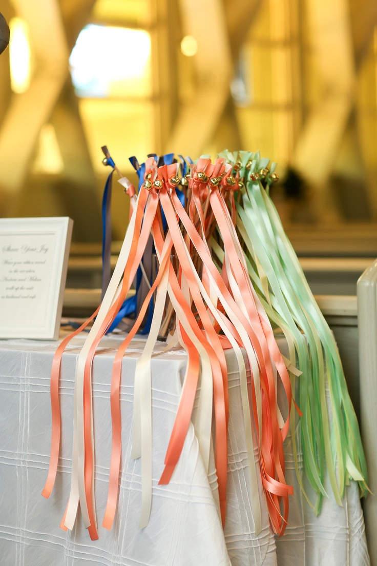 Cute wedding idea! Each guest grabs one as they enter and rings it as the bride & groom depart! Substitutes rice thrown at the couple