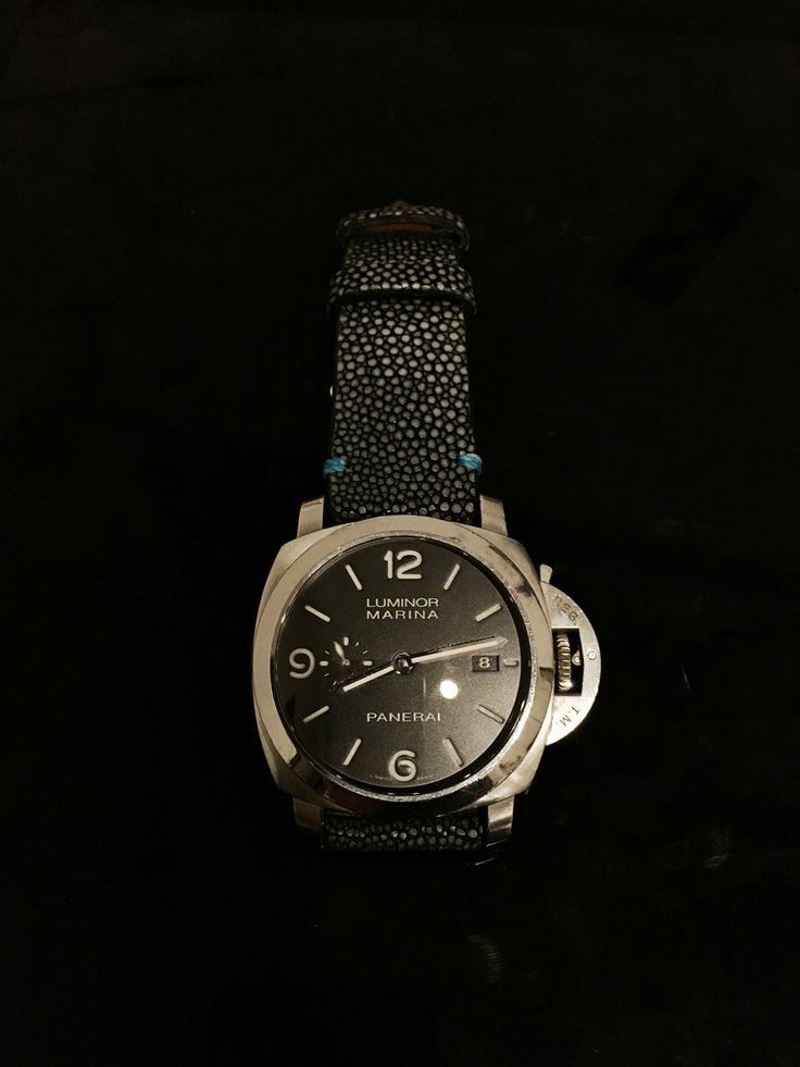 Panerai 312 on Polished Stingray Deployment strap with Panerai blue detailing from Combat Straps.