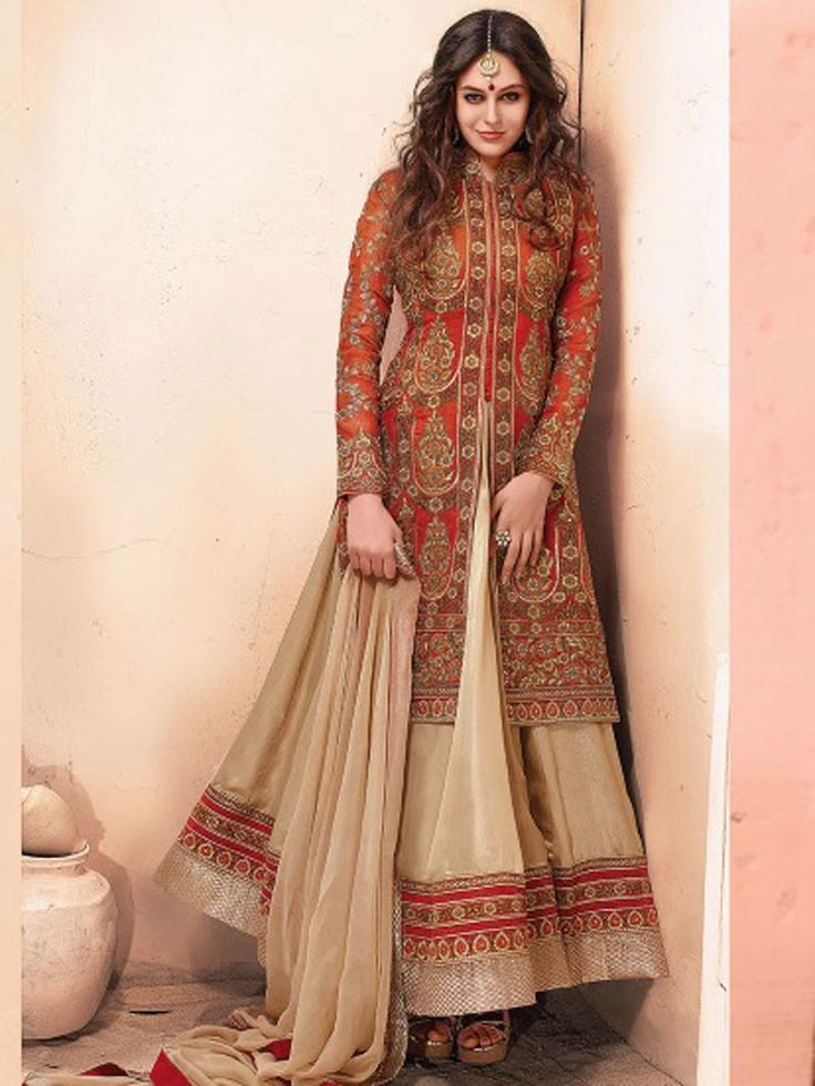 Rust with Beige Color Anarkali Suit Design