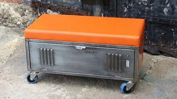 Vintage Brushed Steel Locker Storage Bench by LockerSteel on Etsy, $535.00