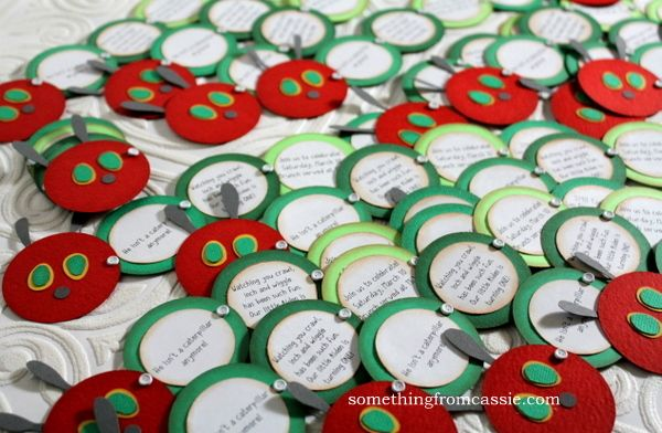 Very Hungry Caterpillar invites ~ circles attached w/brads so they fold into one circle.  CUTE!
