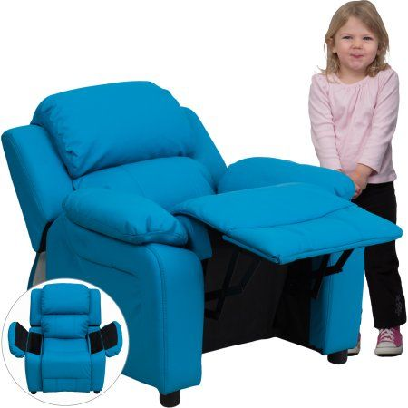Flash Furniture Kids' Vinyl Recliner with Storage Arms, Multiple Colors, Blue