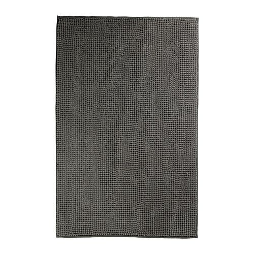 "TOFTBO Bathmat - IKEA.  In gray, 24"" x 35"", $9.99 -- ""Made of microfiber; ultra soft, absorbent and dries quickly.""  {--> in front of shower}"