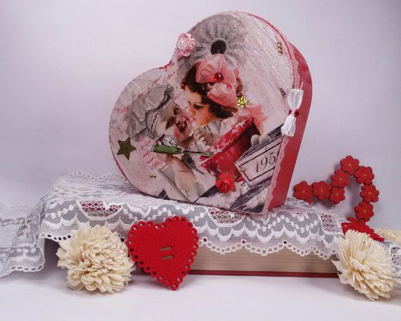 Red wooden jewelry box heart shaped keepsake box by Rocreanique
