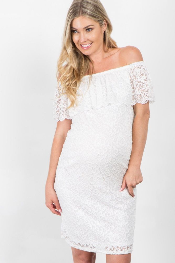 eae1506a26846 White Lace Off Shoulder Fitted Maternity Dress | Atlee Mae | White ...