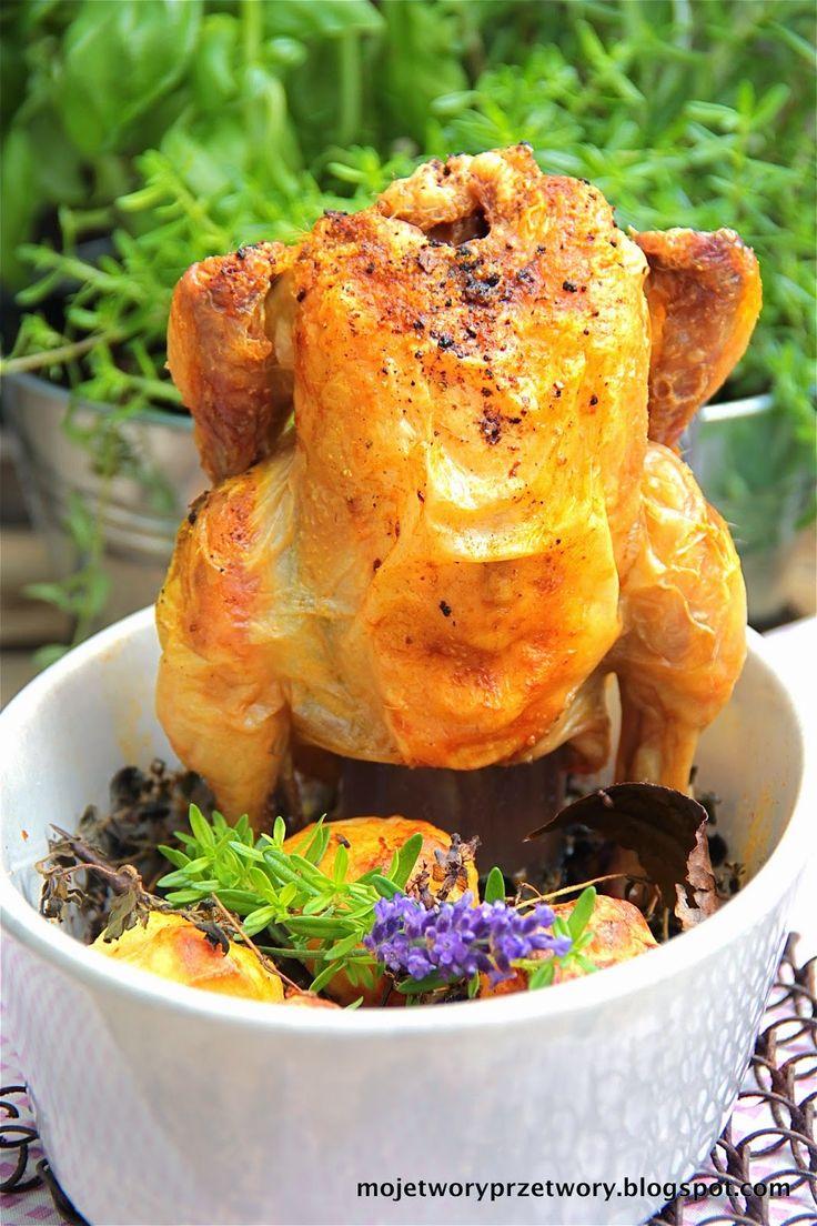 MojeTworyPrzetwory: Kukurydziany - Kurczak pieczony na butelce w różanych aromatach