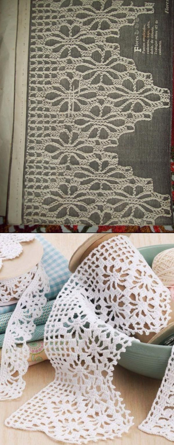 The traditional spider webs lace edging. Note how on the photo at the bottom a delicate finishing of V-stitch and picots has been added on the outer border of the same pattern