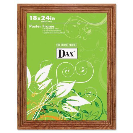 DAX Plastic Poster Frame, Traditional Clear Plastic Window, 18 x 24, Medium Oak, Brown