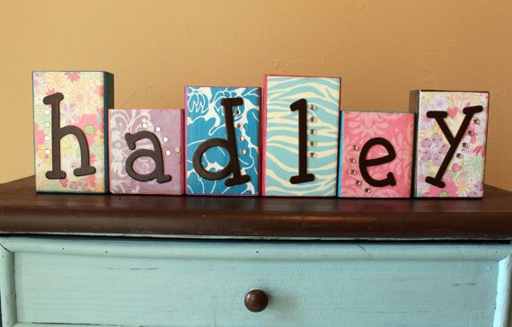 Baby Name Wood Blocks by PaytiePieDesigns on Etsy, $7.00 Hadley... hmmm
