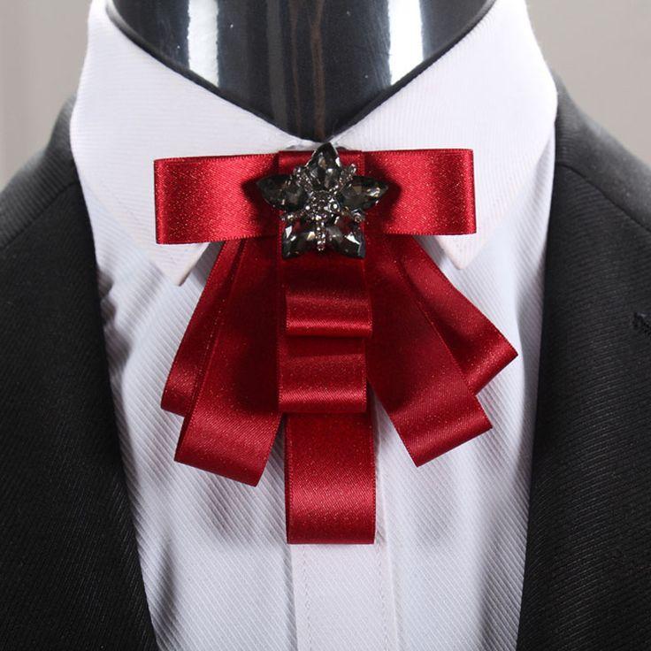Mens silk bow neck tie/red groom wedding decoration/handmade kpop fashion High quality suit accessories/broschen/broszka/broszki