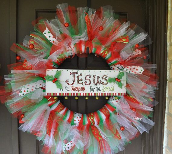 Christmas Jesus Is The Reson Wreath by ZDoorDesigns on Etsy, $49.95