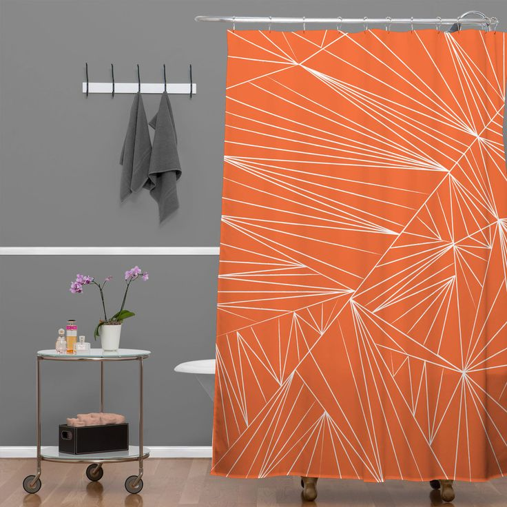 Vy La Tech It Out Orange Shower Curtain | DENY Designs Home Accessories