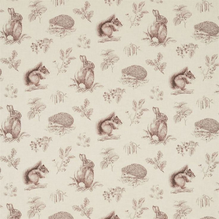 Sanderson - Traditional to contemporary, high quality designer fabrics and wallpapers | Products | British/UK Fabric and Wallpapers | Squirrel & Hedgehog (DWOW225523) | Woodland Walk