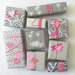 pink-on-grey gift wrappings