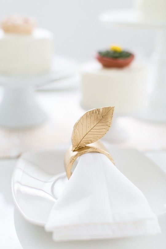 DIY gold leaf napkin rings and thanksgiving tabletop idea