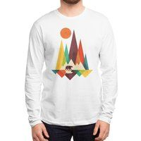 Fractal geometric illustration of mountain landscape with bear