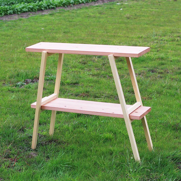 ウッドスタンドテーブル木製ラック木製テーブル木製スタンドクーラースタンドウォータースタンド智頭杉無垢材天板木脚キャンプテーブルアウトドア車載