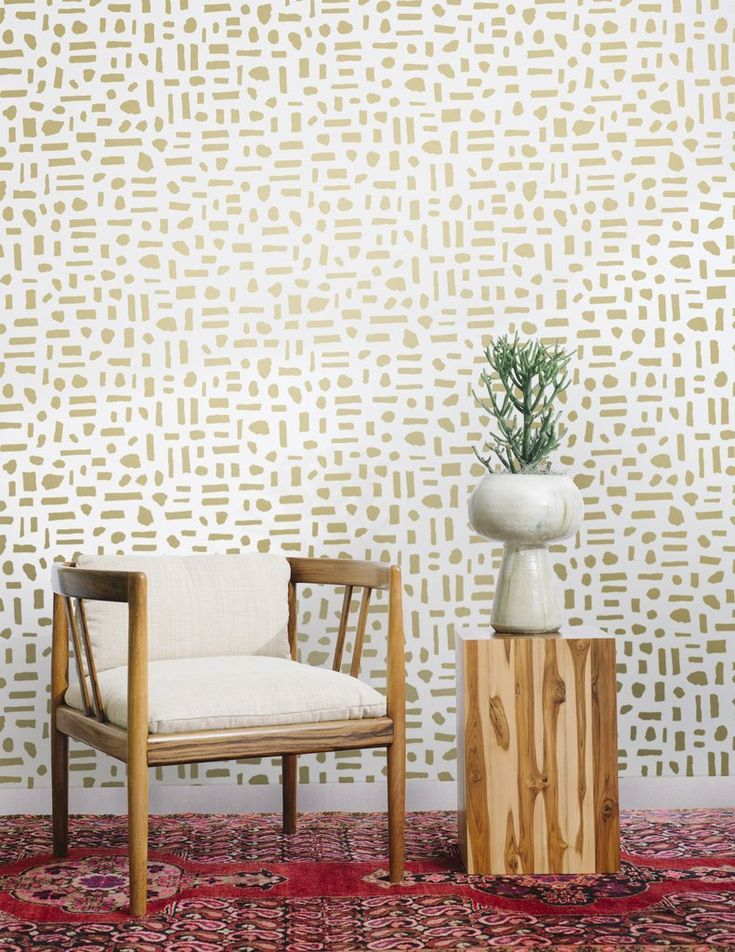 The Pearl Wallpaper in Gold on Cream design by Juju