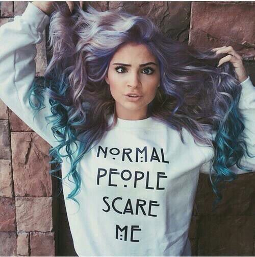 Normal People Scare Me (American Horror Story Quote and Font) Lavender Purple & Pastel Teal Hair color