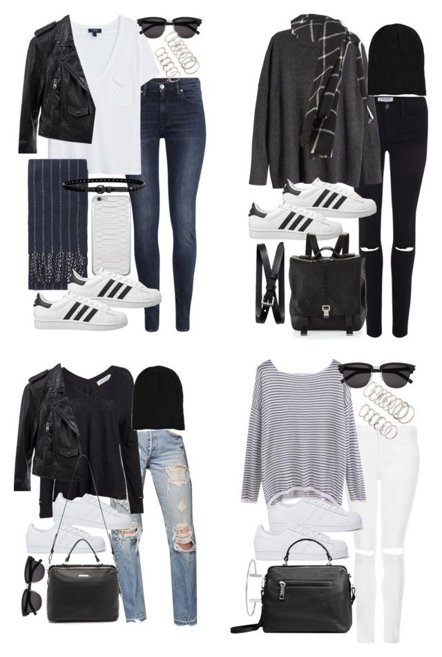 """how to style superstars for fall"" by florencia95 ❤ liked on Polyvore featuring H&M, MANGO, Topshop, Linea Pelle, adidas Originals, Frame Denim, Yves Saint Laurent, Forever 21, Zara and Proenza Schouler"