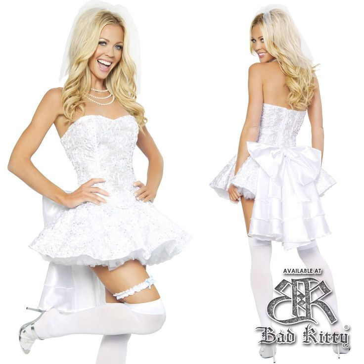 our sexy bride to be costume is a white brides dress and veil 7900 - Naughty Librarian Halloween Costume