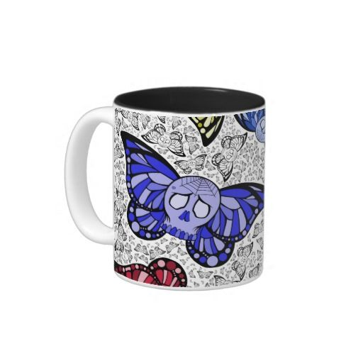 #Skull #Butterflies Two-Tone #Coffee #Mug Artwork by Toni Lee from http://www.tearingcookie.com/ Designed by Mannzie