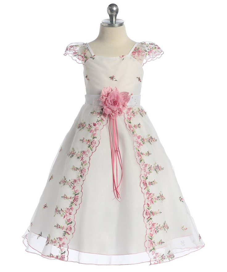 Organza Dress with Delicate Floral Embroidery