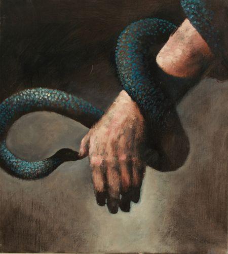 Visual artist Samuli Heimonen NURSE. Acrylic and oil on canvas. 2011