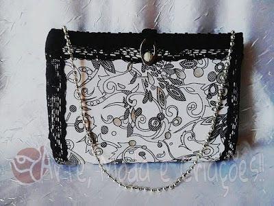 Bolsa de Festa com renda Preta! O clássico preto e branco agora com estampado nesta linda e delicada bolsinha!!