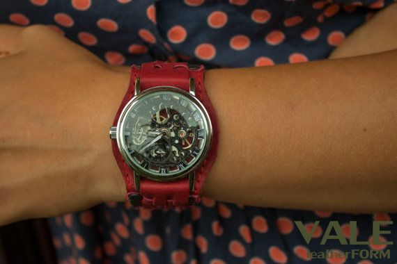Watches scarlet or watches in red color.  Wristwatch scarlet made of genuine leather scarlet, perfectly combined with silver-black mechanical