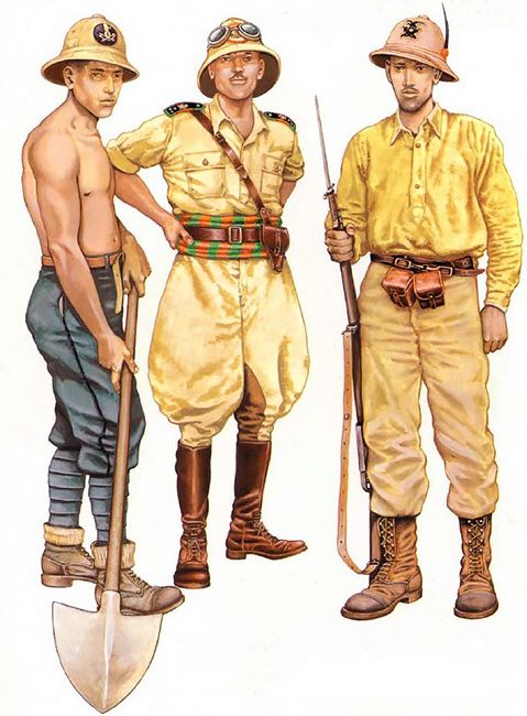 The Italian invasion of Abyssinia, 1935-36 • Milite, III Centuria Lavoratori, MVSN • Capitano, XLV Eritrean Battalion, RCTC, Eritrea • Alpino, 11th Regiment, Pusteria Division