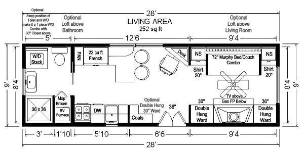 28 tiny house floor plan 3 bedrooms 600x297   Tiny House Floor Plans: 32 Long Tiny Home on Wheels Design