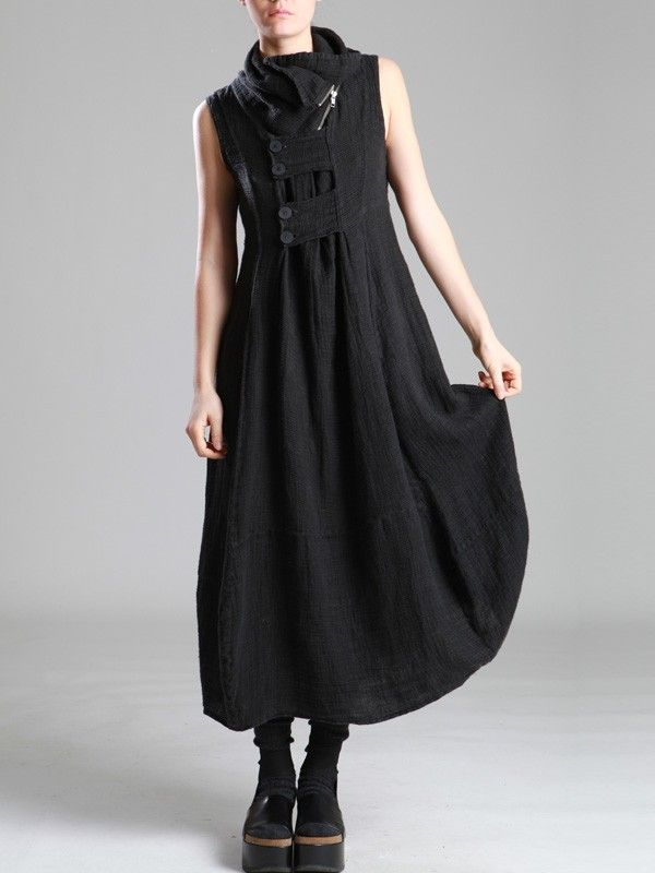SUPER WIDE RUSTIC-LINEN DRESS - JACKETS, JUMPSUITS, DRESSES, TROUSERS, SKIRTS, JERSEY, KNITWEAR, ACCESORIES - Woman -