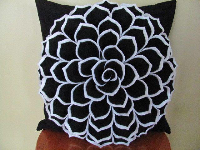 Felt Flower Pillow Pattern SOPHIA FLOWER Fabric by SewYouCanToo