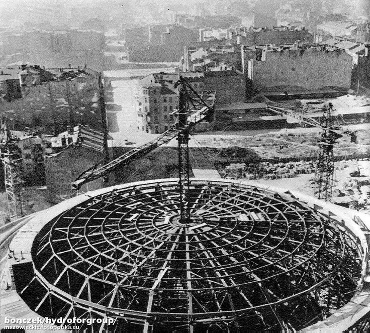Warszawa - budowa Sali Kongresowej Pałacu Kultury i Nauki (1952-55)