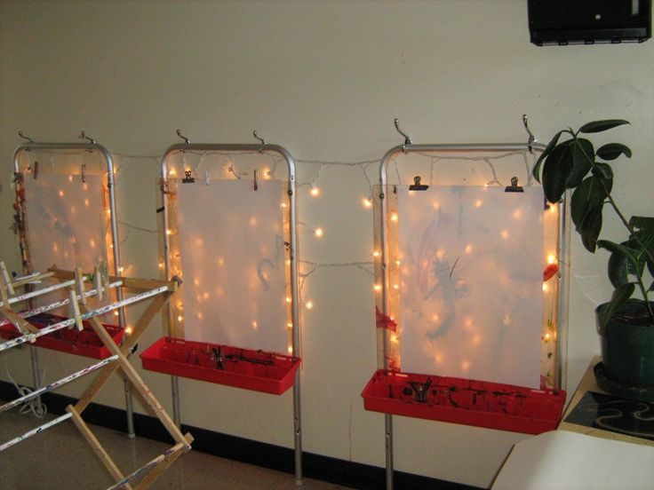 Light Easel! Read for a couple more ideas about playing with light in the classroom.