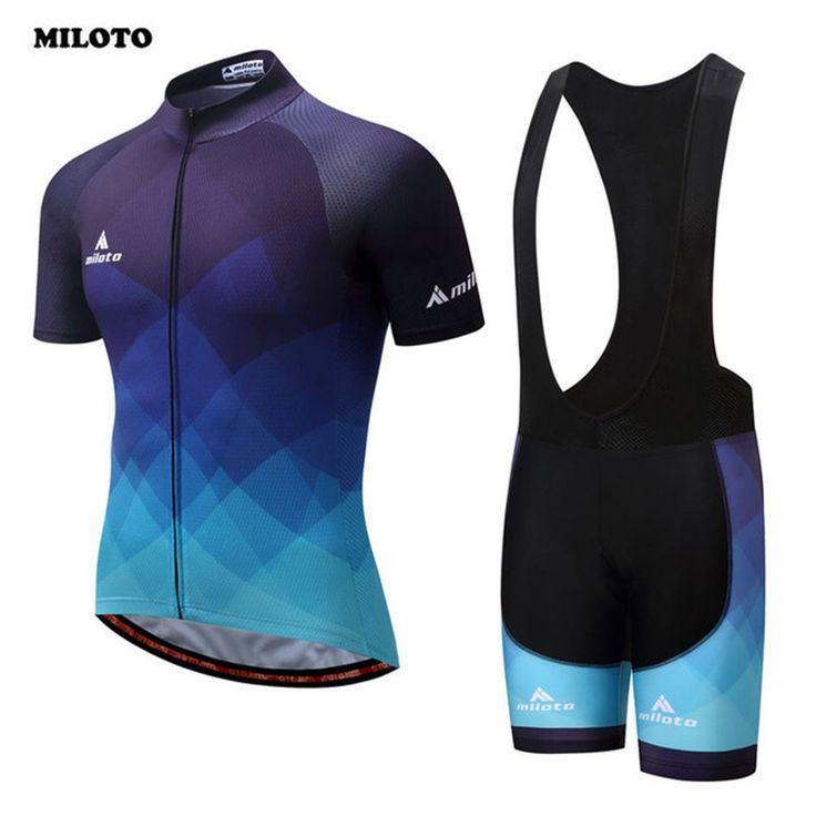 MILOTO bora cycling 2017 Summer Bike Clothing Set Cycling Jersey & Padded Cycling (Bib) Shorts Sets Men's Ropa Ciclismo Blue