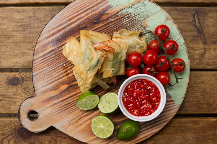 Phyllo wrapped prawns served with a sweet and sour sauce! A dish full of summer flavours!