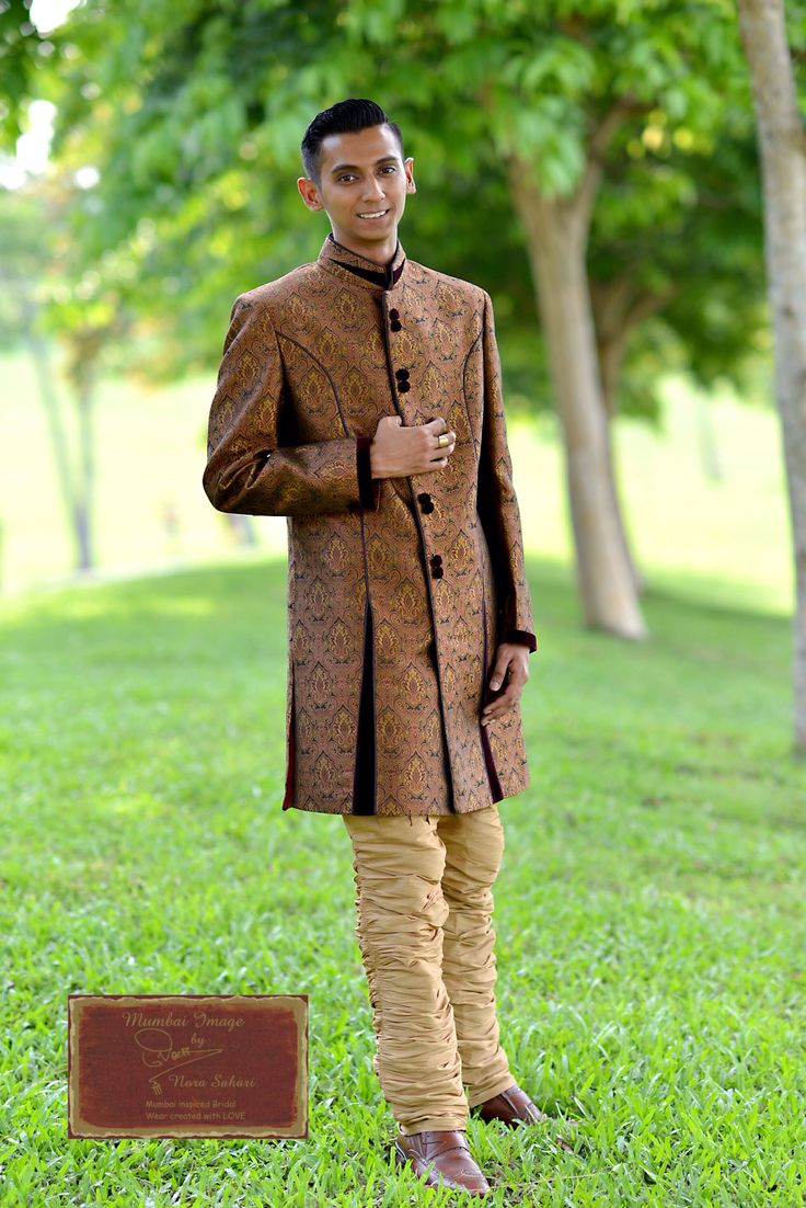 Our Indo Western Shewarni in Banarasi Silk with Gold Breeches.