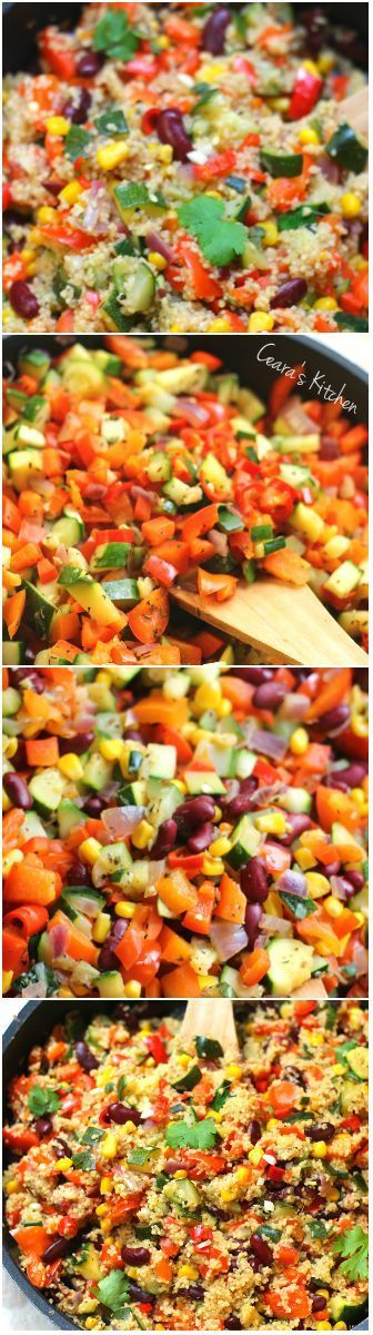 A bright Spring Vegetable Couscous Stir Fry filled with colorful vegetables and Mexican flavor. Enjoy as a side or a main dish! #lunch