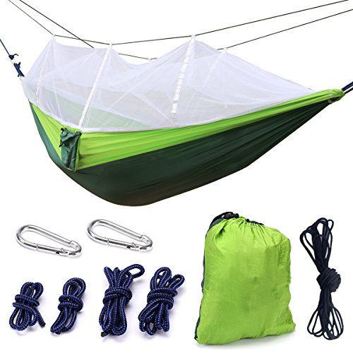 tree camping hammock - Camping Hammock, Trofong Double Hammock Mosquito Net Nylon Fabric Hammock for Beach, Traveling, Hiking, Mountain,Adventure,Outdoor Jungle ** Find out more about the great product at the image link. (This is an affiliate link) #discoverla