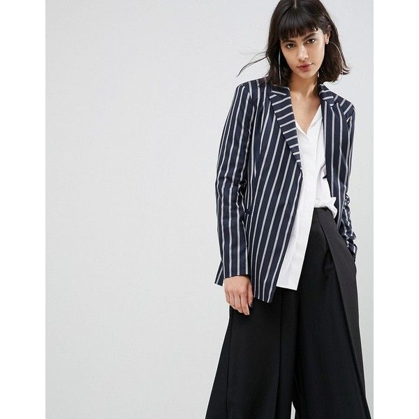 ASOS Tailored Deconstructed Blazer in Pinstripe (£55) ❤ liked on Polyvore featuring outerwear, jackets, blazers, multi, asymmetrical blazer, asos blazer, tall jackets, deconstructed jacket and prom blazers