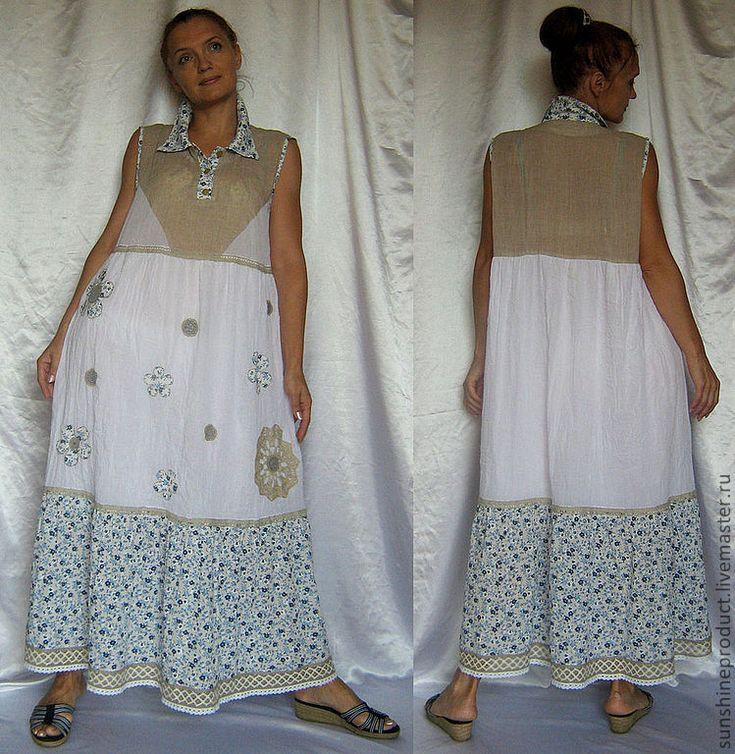 """Купить Платье """"Деревенский шик ремикс"""" - этностиль, длинное платье, сарафан…"""