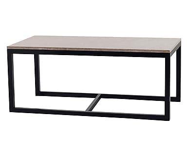 Tavolino in legno e marmo con top rettangolare Sydney I - 120x50x60 cm